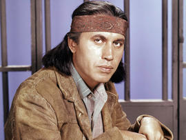 "Actor Michael Ansara is seen on location for the TV series ""Law of the Plainsman"" in 1960."