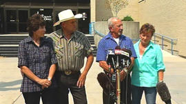Mike and Mary Young (left) as well as Mark and Christa John tell reporters at a news conference in Idaho on Sunday, August 11, 2013 about how they spotted missing teen Hannah Anderson and her missing captor.