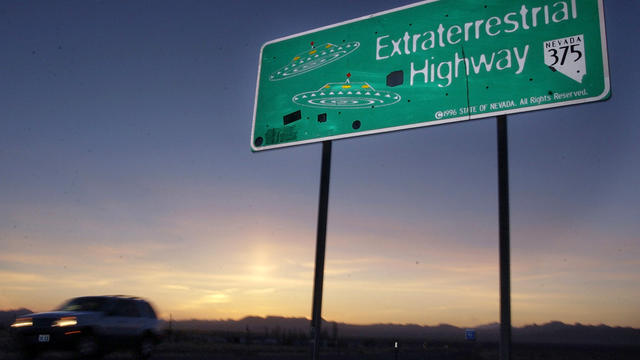 A car moves along the Extraterrestrial Highway near Rachel, Nev., April 10, 2002.