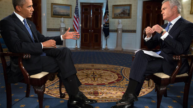 Scott Pelley interviews President Obama at the White House on Sept. 9, 2013.