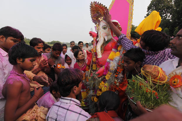 Hindus celebrate Ganesha - the elephant-headed god