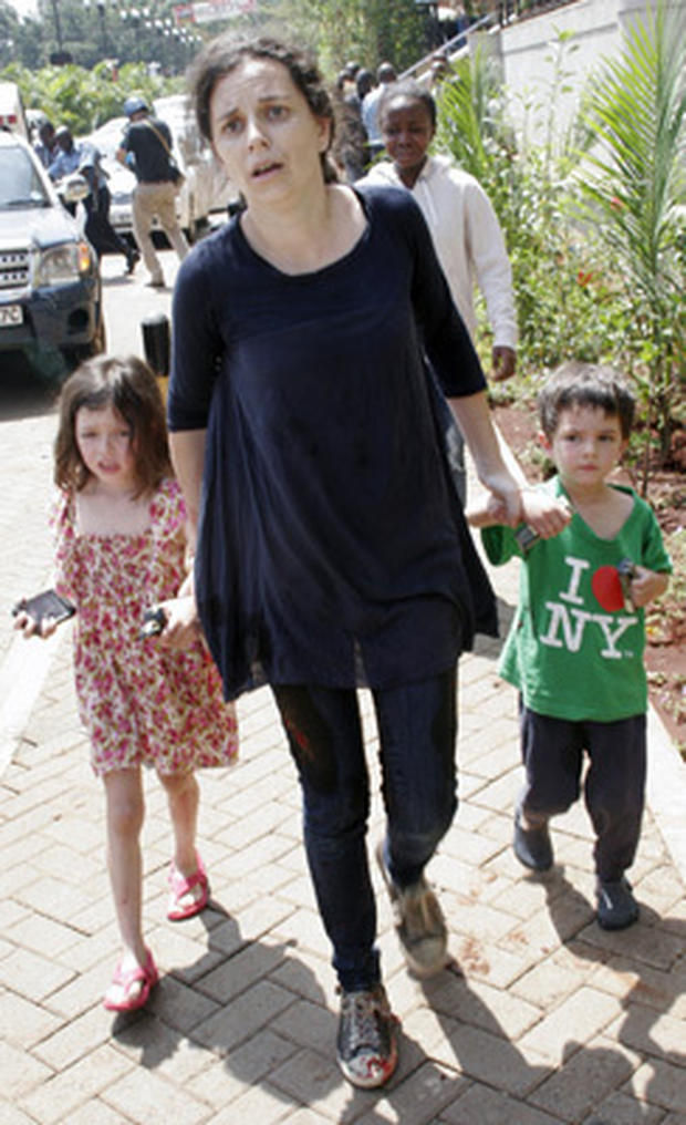 A woman identified as Amber Prior and her two children escape from the Westgate Mall in Nairobi