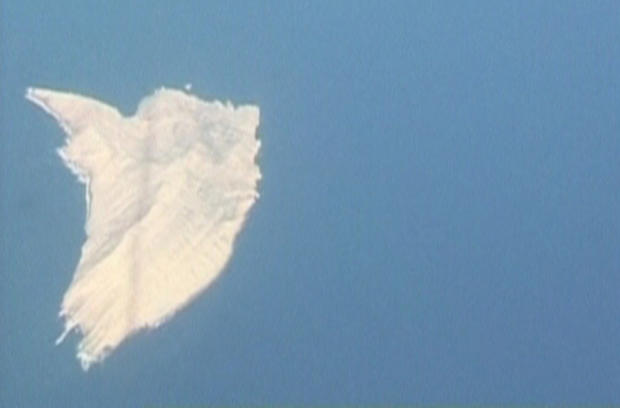 An aerial photograph from Pakistan's GEO TV shows a new island in the Arabian Sea spawned by an earthquake