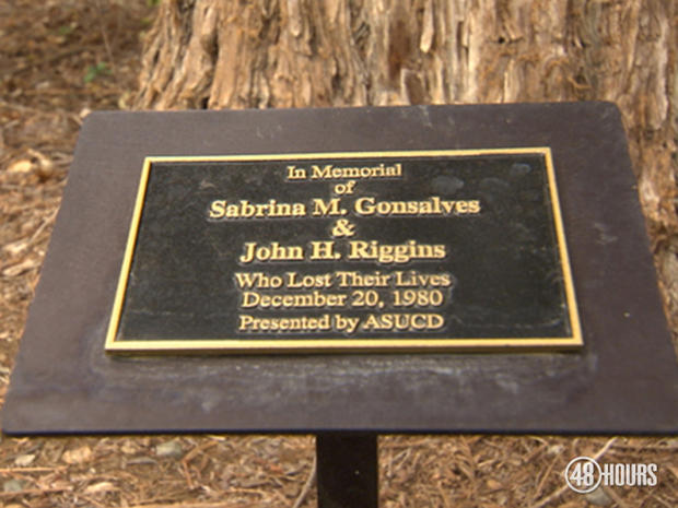 On the grounds of the University of California at Davis campus, a tree stands in memory of the two murdered college sweethearts.