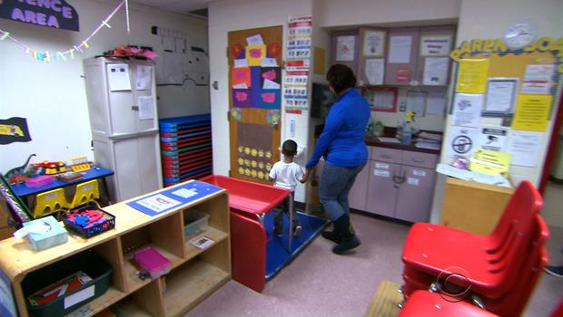 Danielle Smith and son in empty Head Start program