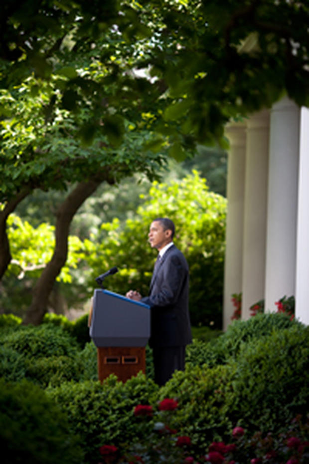 Obama speaking in the White House Rose Garden (Source: White House/Flickr Creative Commons)