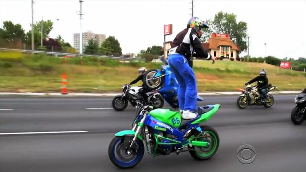 Police say that when bikers do stunts like this, it is dangerous for other drivers as well as themselves.