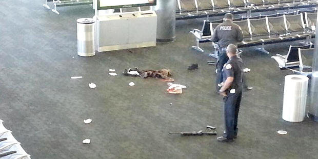 Photo taken by witness of the scene at LAX airport after a shooting in Terminal 3