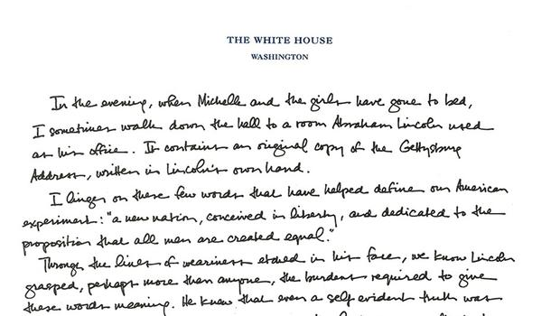 obama offers up a handwritten tribute to the gettysburg address