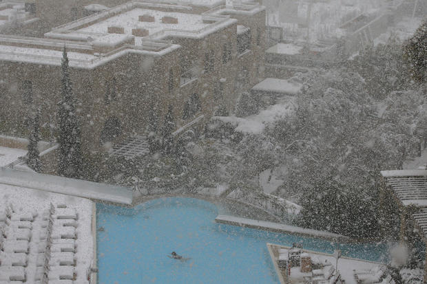 Snow storm middle east