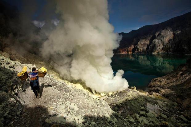 Ijen volcano sulfur mine