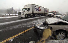 Ice, snow cause hundreds of accidents in Carolinas