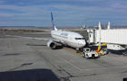 United Boeing 737 at Billings Logan International Airport after severe turbulence sent 5 people from the plane to area hospitals on Feb. 17, 2014