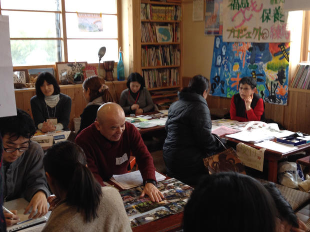 Japanese parents meet at a networking event in Fukushima prefecture