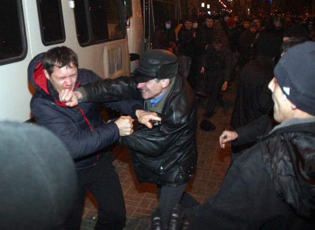 Pro-Russian supporters clash with pro-Ukrainian activists during a rally in the eastern Ukrainian city of Donetsk