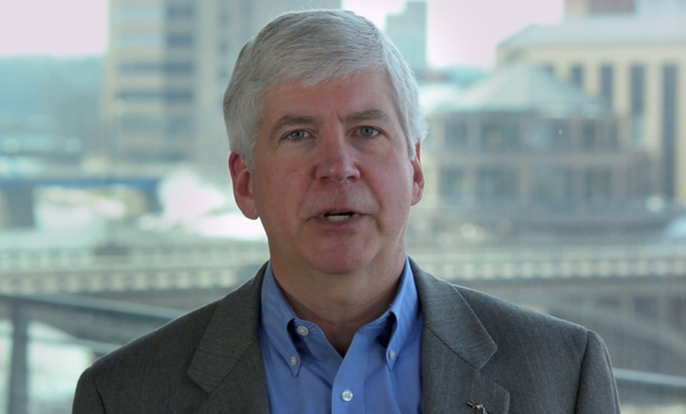 Gov. Rick Snyder, R-Mich., delivers the weekly Republican address March 22, 2014.