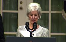 HHS Secretary Kathleen Sebelius missing a page from her speech