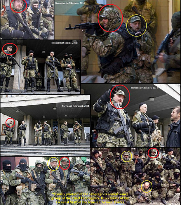 """A set of photos distributed by Ukraine's government to the OSCE purports to show Russian special forces deployed in eastern Ukraine, and also identified in an alleged """"family photo"""" of the special forces """"sabotage-reconnaissance group"""""""