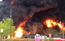 Watch: Major fire from derailed train carrying crude oil in Virginia