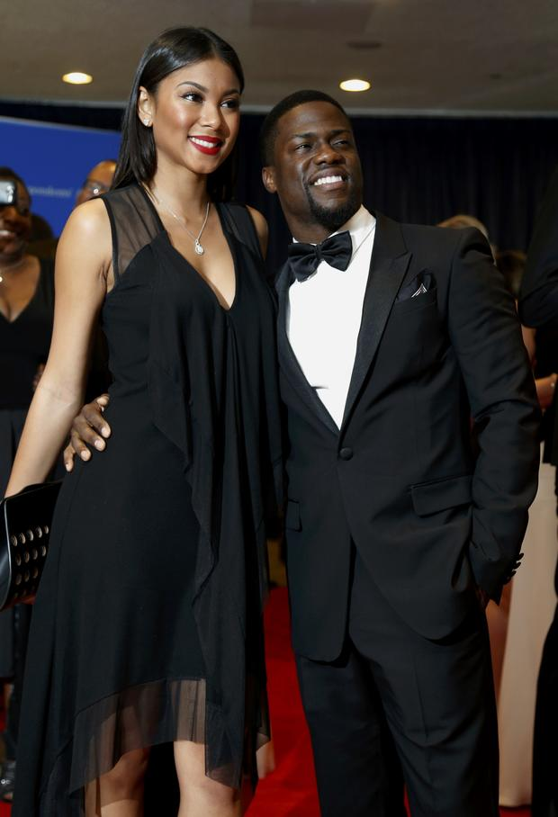 Actor Kevin Hart and Eniko Parrish arrive on the red carpet at the annual White House Correspondents' Association dinner in Washington May 3, 2014.