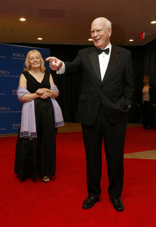 Sen. Patrick Leahy, D-Vt., and his wife, Marcelle Pomerleau, arrive on the red carpet at the annual White House Correspondents' Association dinner in Washington May 3, 2014.