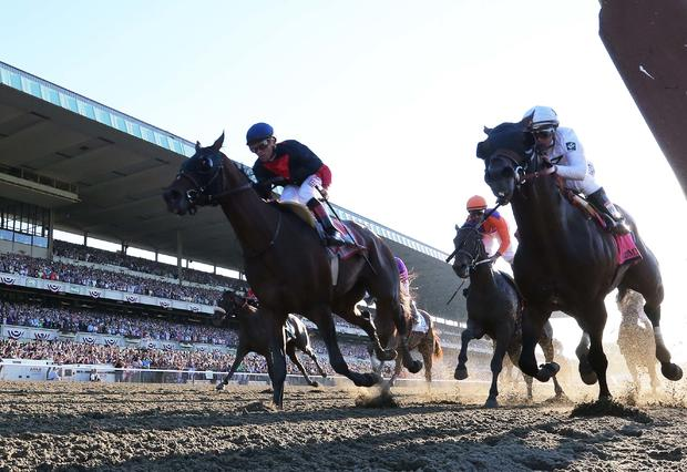Joel Rosario aboard Tonalist (11) wins the 2014 Belmont Stakes at Belmont Park as Javier Castellano aboard Commissioner (8) and Robby Albarado aboard Medal Count (1) finish 2nd and 3rd respectively at Belmont Park in Elmont, New York, June 7, 2014.