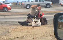 California cop beats woman repeatedly on the freeway