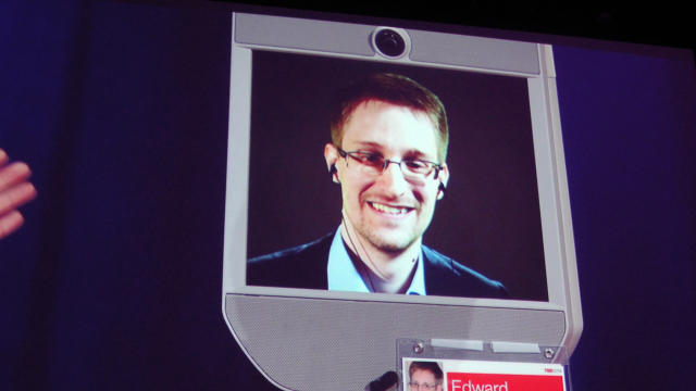 Former NSA contractor Edward Snowden appears by remote-controlled robot at a TED conference in Vancouver March 18, 2014.