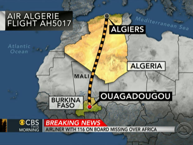 Map showing route of Air Algerie Flight AH5017