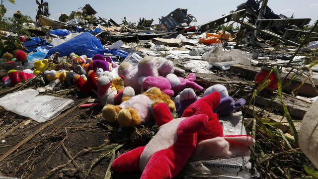 Wreckage debris and mementos left by local residents are seen at the crash site of Malaysia Airlines Flight 17 near the village Grabovo, Ukraine, July 26, 2014.