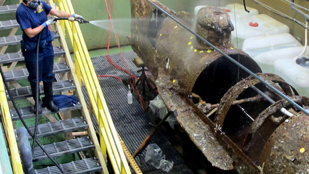 scientists begin revealing hull of famous confederate submarine cbs news