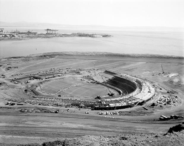 Candlestick Park is seen as it was being built for the San Francisco Giants March 4, 1959.