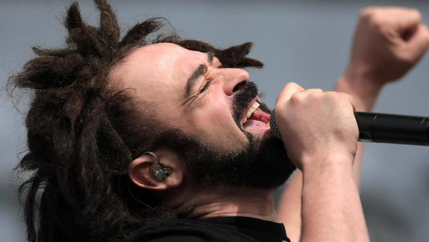 """Adam Duritz of the Counting Crows performs on the third day of the """"T in the Park"""" music festival near Kinross, Scotland, July 13, 2008."""