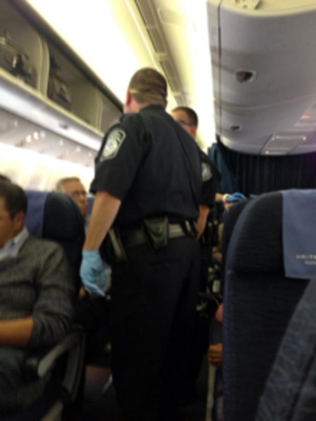 A picture from inside the cabin of United Airlines Flight 998 from Brussels Oct. 4, 2014.