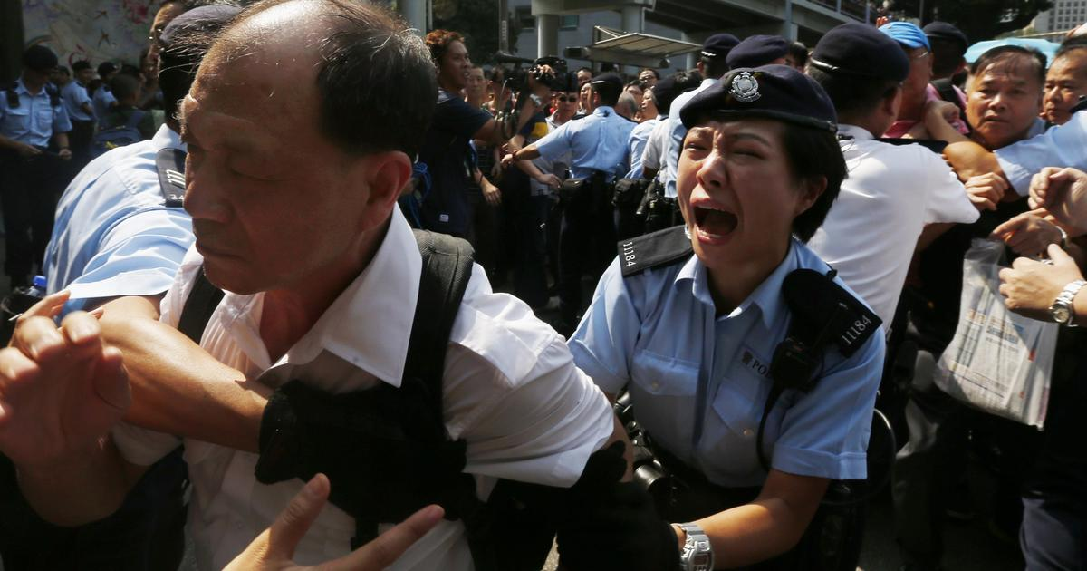 Hong Kong Protests Police And Angry Crowd Try To Bring