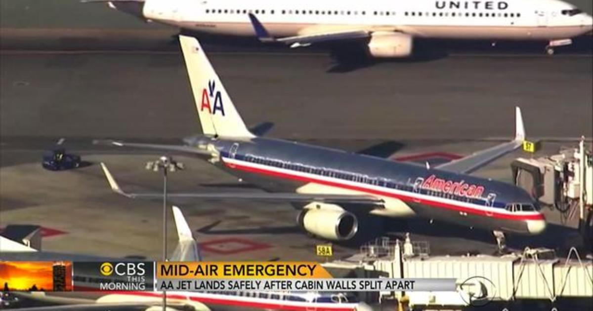 american airlines plane cabin walls crack loose on flight - 480×360