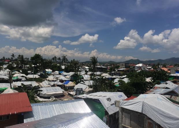 A makeshift tent city, home to thousands of people made homeless by Typhoon Haiyan, in Tacloban