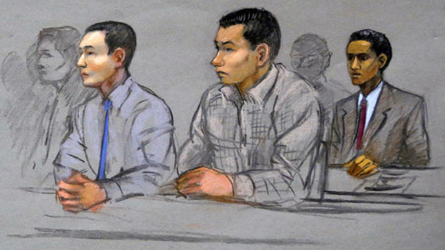 This courtroom sketch shows defendants Azamat Tazhayakov, left, Dias Kadyrbayev, center, and Robel Phillipos, college friends of Boston Marathon bombing suspect Dzhokhar Tsarnaev, during a hearing in federal court May 13, 2014, in Boston.