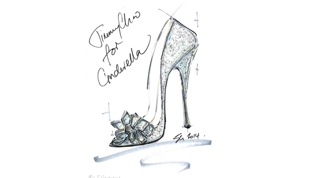 Shoe designers sketch Cinderella's glass slipper