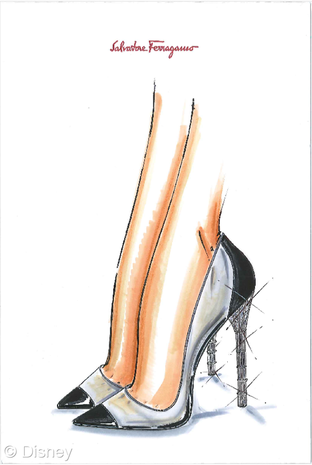 Shoe designers sketch Cinderella's glass slipper