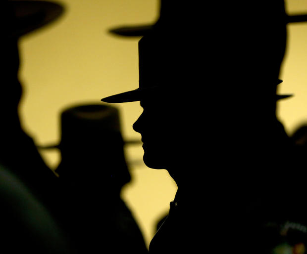 Graduating New York State Police officers line up outside the Empire State Plaza Convention Center before a ceremony in Albany, New York, Feb. 10, 2015.  The 202nd session graduated about 230 officers.