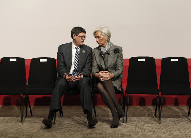 U.S. Treasury Secretary Jack Lew, left, talks with International Monetary Fund Managing Director Christine Lagarde after a group picture during the G20 finance ministers and central bank governors meeting in Istanbul, Turkey, Feb. 10, 2015.
