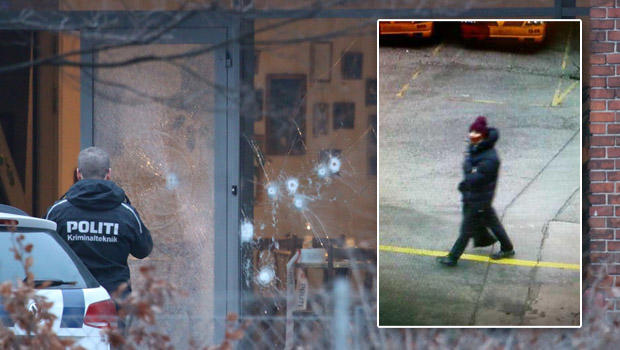 Police presence is seen next to damaged glass at the site of a deadly shooting in Copenhagen Feb. 14, 2015, with an inset picture of the suspect released by Copenhagen police.
