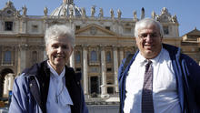 Sister Jeannine Gramick and Francis DeBernardo of New Ways Ministry, which ministers to homosexual Catholics and promotes gay rights, pose in front of St. Peter's Basilica after Pope Francis' weekly audience Feb. 18, 2015.