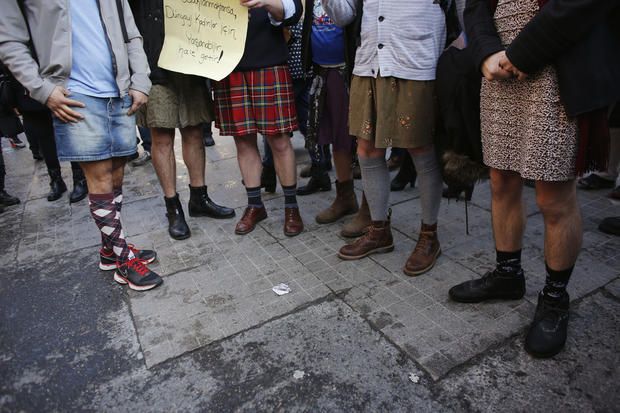 Turkish men in skirts campaign for women's rights
