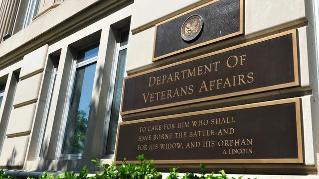 May 2014 photo shows sign in front of Veterans Affairs building in Washington, DC.