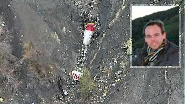​Debris from an Airbus A320 is seen in the mountains, near Seyne-les-Alpes, France, March 24, 2015, in this still image taken from TV with, inset, an undated image taken from Facebook of Germanwings co-pilot Andreas Lubitz in San Francisco, California.