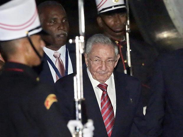 Cuba's President Raul Castro arrives in Panama City