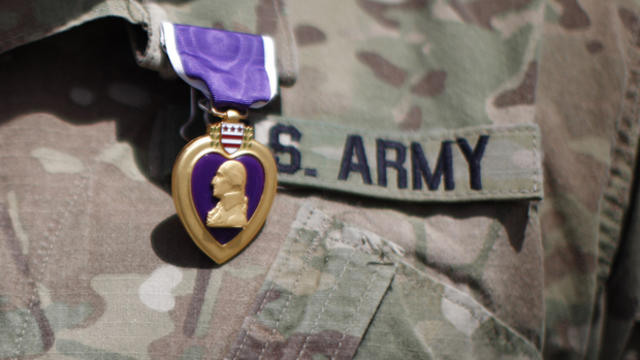 A Purple Heart medal is shown on a U.S. Army uniform during a ceremony June 6, 2011, at Combat Outpost Andar in Ghazni Province, Afghanistan.
