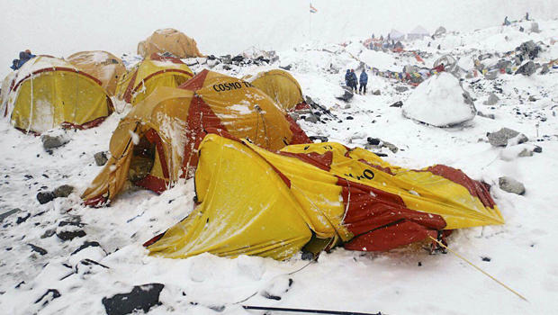 This photo provided by Azim Afif shows the scene after an avalanche triggered by a massive earthquake swept across Everest Base Camp, Nepal, April 25, 2015.